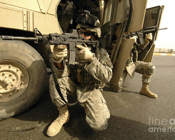 Operation Iraqi Freedom Poster featuring the photograph U.s. Army Soldiers Providing Overwatch by Stocktrek Images