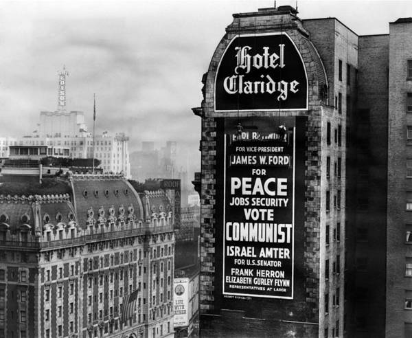 History Poster featuring the photograph Us Communist Election Campaign Sign by Everett