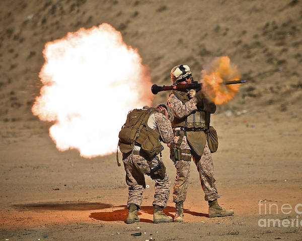 Operation Enduring Freedom Poster featuring the photograph U.s. Marine Fires A Rpg-7 Grenade by Terry Moore