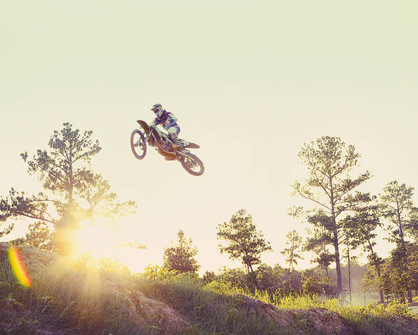 35-39 Years Poster featuring the photograph Usa, Texas, Austin, Dirt Bike Jumping by King Lawrence