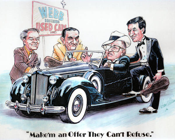 Caricatures Poster featuring the drawing Used Car Salesmen by Harry West