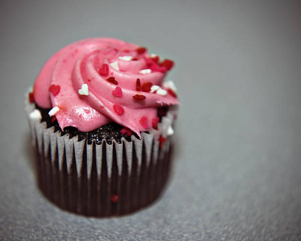 Against Poster featuring the photograph Valentines Cupcake by Malania Hammer