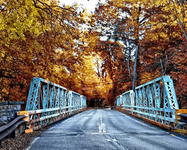 Valley Green Road Bridge In Autumn Poster featuring the photograph Valley Green Road Bridge In Autumn by Bill Cannon
