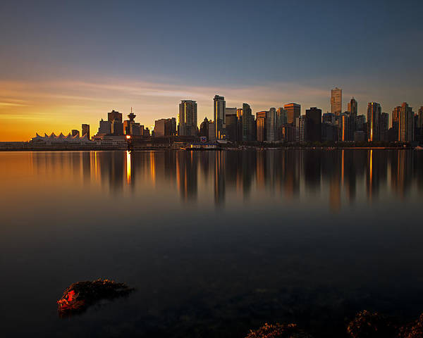 Golden Sunrise Poster featuring the photograph Vancouver Golden Sunrise by Jorge Ligason