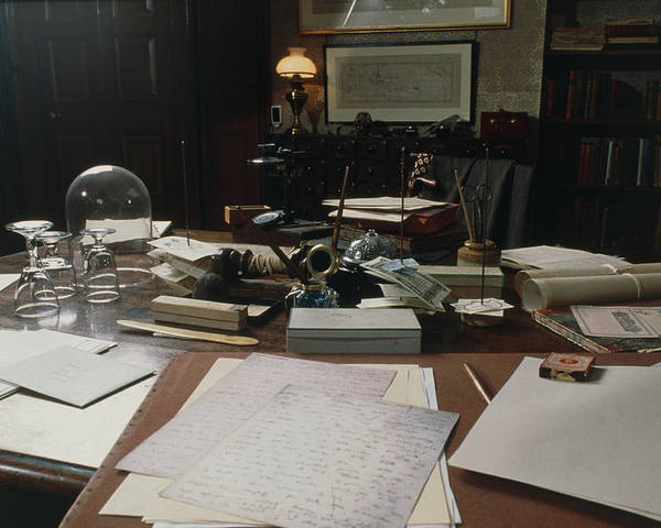 Darwin Poster featuring the photograph View Of Darwin's Desk At Down House by Volker Steger