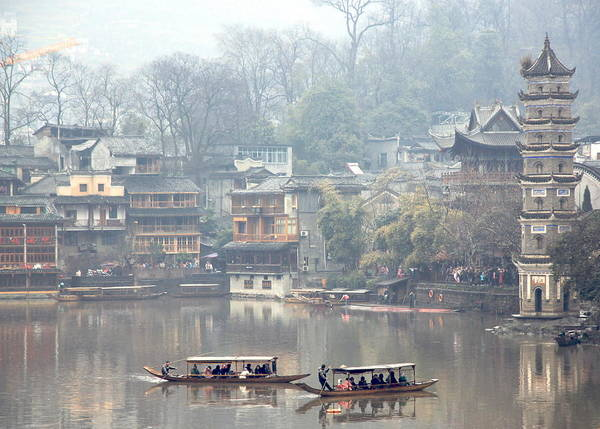 River Poster featuring the photograph View Of Fenghuang by Valentino Visentini