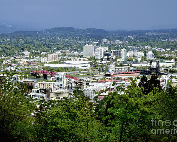 Portland Poster featuring the photograph View Of Portland Oregon From Pittock Mansion by Sherry Curry