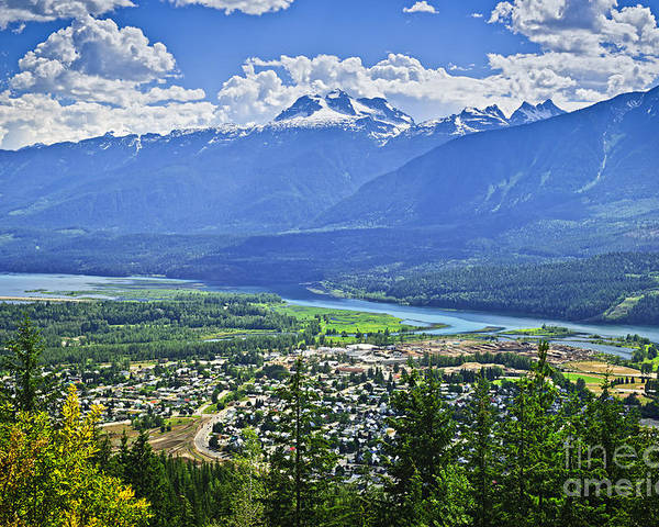 Revelstoke Poster featuring the photograph View Of Revelstoke In British Columbia by Elena Elisseeva
