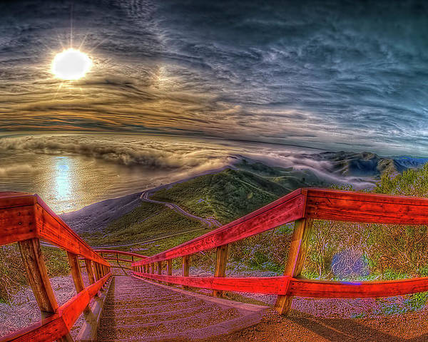 Horizontal Poster featuring the photograph View Of Sun Into Sea At Marin Headlands by Image by Sean Foster