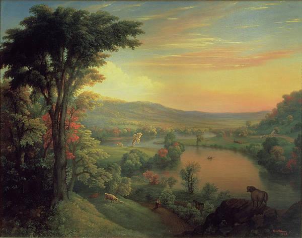 View Of The Mohawk Near Little Falls Poster featuring the painting View Of The Mohawk Near Little Falls by Mannevillette Elihu Dearing Brown