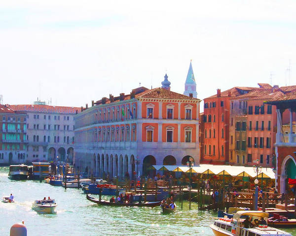 Venice Print Poster featuring the photograph View Of Venice's Market by Christiane Kingsley
