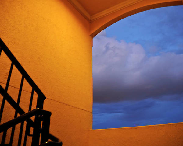 Window Poster featuring the photograph View Through A Stairwell by Carolyn Marshall
