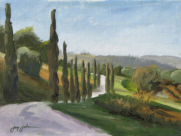 Landscape Poster featuring the painting Casa Benne Villa Road by Jay Johnson