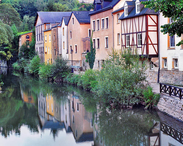 Luxembourg Poster featuring the photograph Village Reflections In Luxembourg I by Greg Matchick