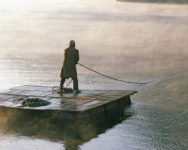 Himalaya Poster featuring the photograph Villager On Raft Crosses Lake Phewa Tal by Gordon Wiltsie