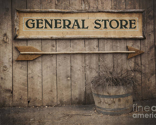 Aged Poster featuring the photograph Vintage Sign General Store by Jane Rix