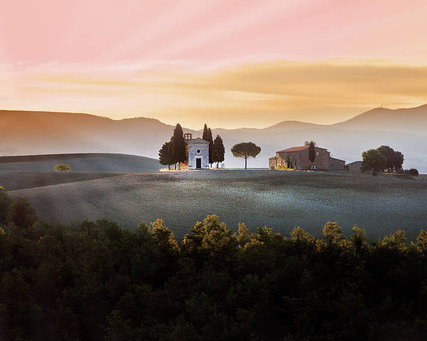 Horizontal Poster featuring the photograph Vitaleta Chapel At Sunset by Jova photo