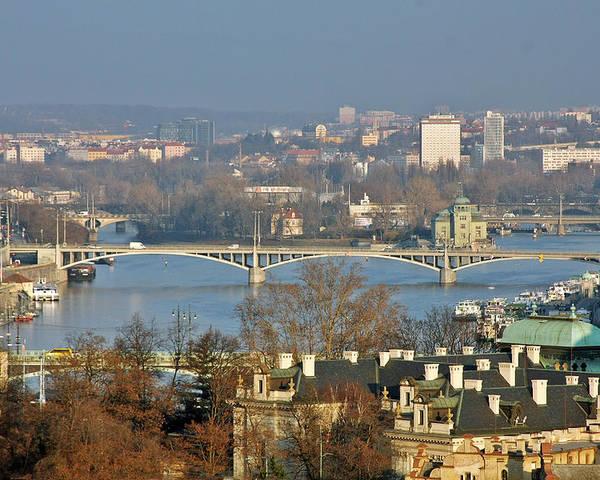 Vltava Poster featuring the photograph Vltava River In Prague - Tricky Laziness by Christine Till