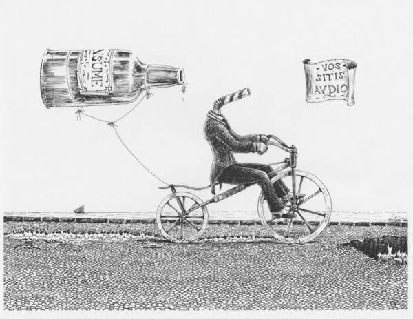 Velocipede Poster featuring the drawing Vos Sitis Audio by Canis Canon