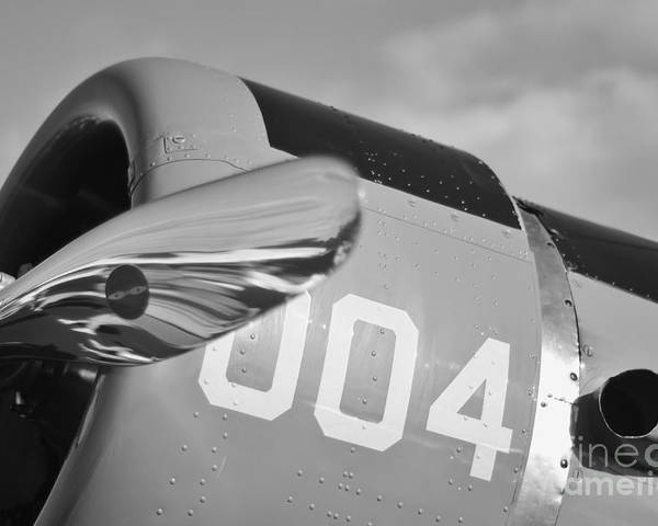 Vultee Bt-13 Valiant Poster featuring the photograph Vultee Bt-13 Valiant In Bw by Lynda Dawson-Youngclaus