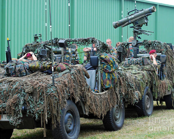 Recce Poster featuring the photograph Vw Iltis Jeeps Of A Recce Scout Unit by Luc De Jaeger