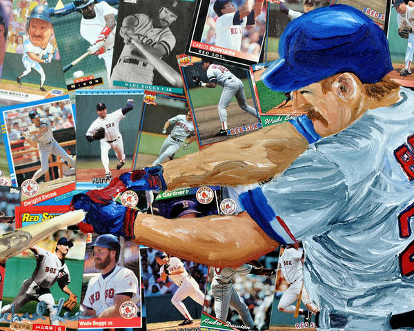 Major Leaue Baseball Poster featuring the painting Wade Boggs by Michael Lee