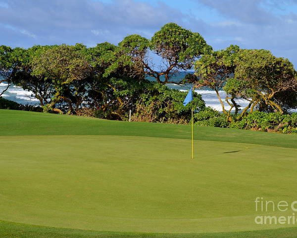 Golf Poster featuring the photograph Wailua Golf Course - Hole 17 - 3 by Mary Deal