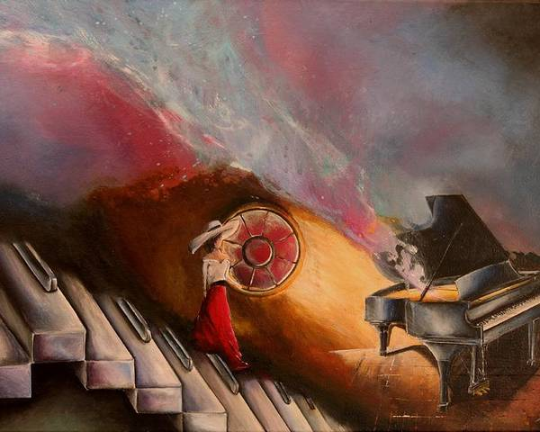 Piano Poster featuring the painting Waiting For The Right Tune by Sandra Navarro
