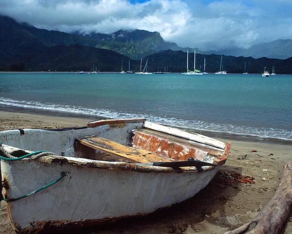 Landscapes Poster featuring the photograph Waiting To Row In Hanalei Bay by Kathy Yates
