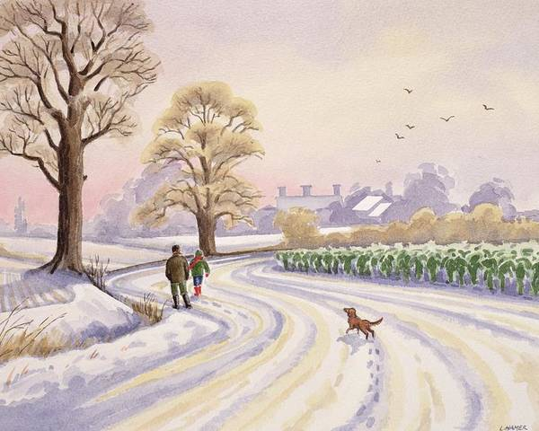 Landscape; Field; Tree; Trees; Bush; Bushes; Snow; Snow Covered; Winter; Winter Time; Road; Dog; People; Man; Child; Walking; Walk; Crop; Crops; Bird; Birds; Flying; House; Houses; Roof; Roofs; Foot Print; Foot Prints Poster featuring the painting Walk In The Snow by Lavinia Hamer