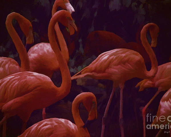 Wild.birds Poster featuring the mixed media Walking Flamingos by Jerry L Barrett
