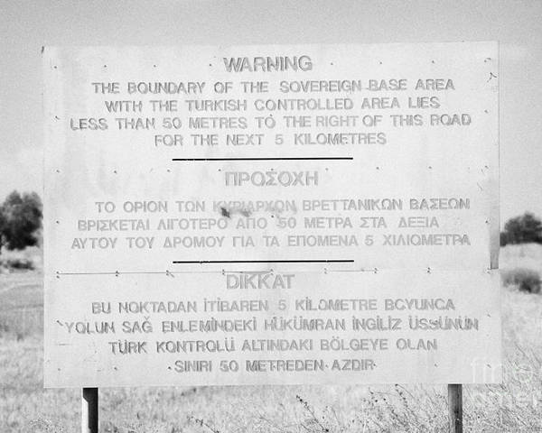 Sba Poster featuring the photograph warning sign warning of the border of the turkish military controlled area of the SBA Sovereign Base by Joe Fox