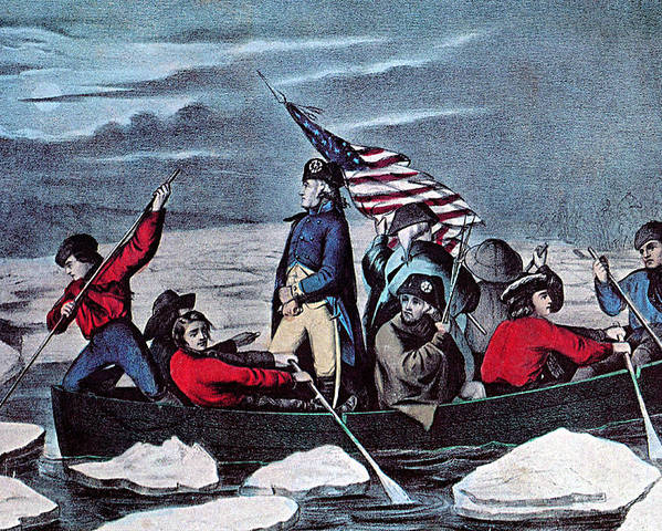 History Poster featuring the photograph Washington Crossing The Delaware, 1776 by Photo Researchers
