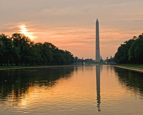 Washington Monument Poster featuring the photograph Washington Monument At Dawn by Jim Moore