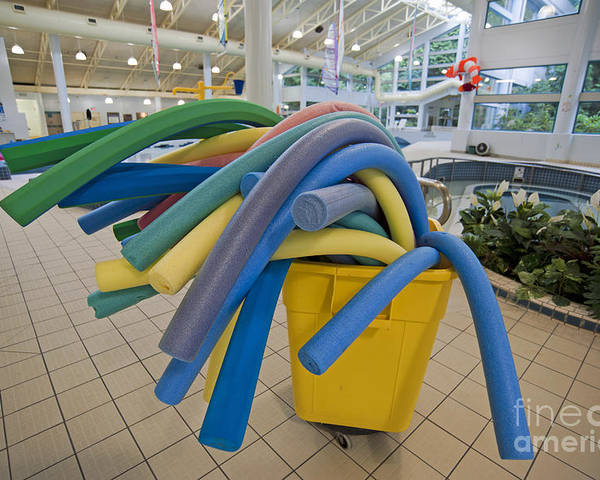 Bucket Poster featuring the photograph Water Noodles At A Public Swimming Pool by Marlene Ford