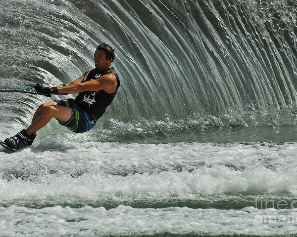 Water Skiing Poster featuring the photograph Water Skiing Magic Of Water 3 by Bob Christopher