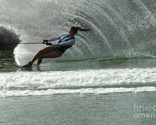 Water Skiing Poster featuring the photograph Water Skiing Magic Of Water 9 by Bob Christopher