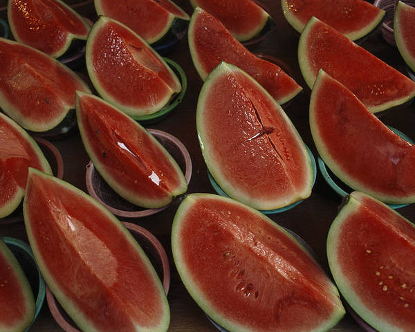 Pacific Islands Poster featuring the photograph Watermelon Slices Sold At A Market by Todd Gipstein