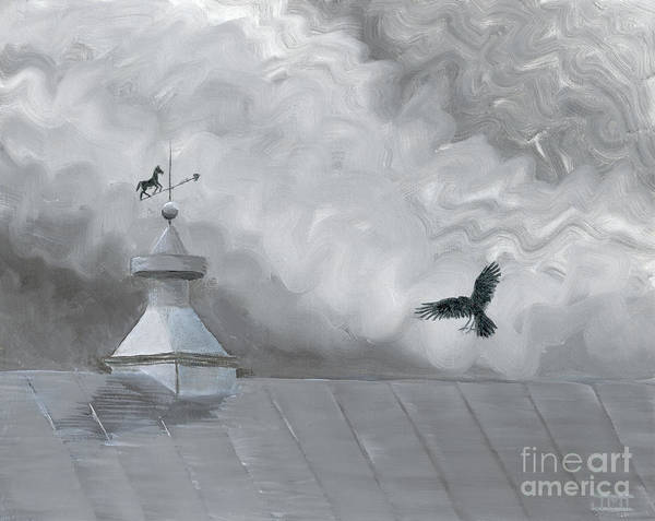 Crow Poster featuring the painting Weather Vane by Jackie Irwin