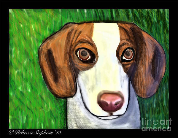 Beagle Poster featuring the painting Wee Beagle by Rebecca Stephens