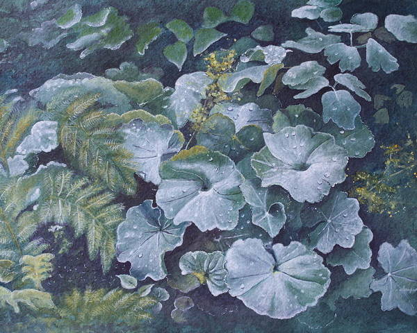 Surreal Landscape Poster featuring the painting Weeping Ladies Mantle by Patsy Sharpe