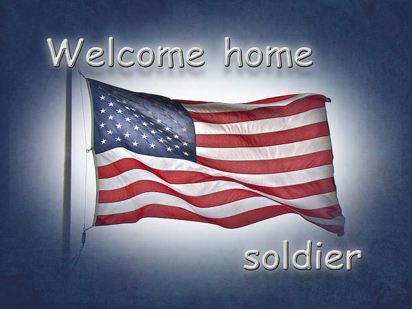 welcome home soldier greeting card american flag poster by mother