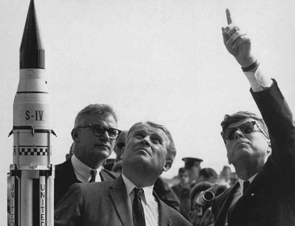 History Poster featuring the photograph Wernher Von Braun Explains The Saturn by Everett
