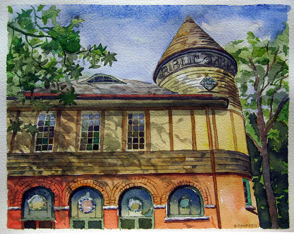 Landscape Poster featuring the painting West Chester Library by Michael Stancato