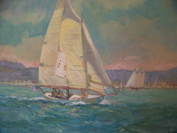 Sailing Poster featuring the painting West Coast Sailing by Bart DeCeglie