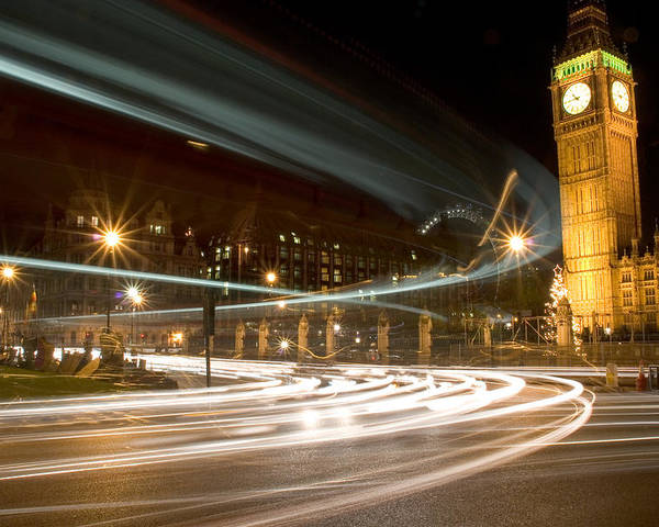 Horizontal Poster featuring the photograph Westminster Lights by Copyright Michael Spry