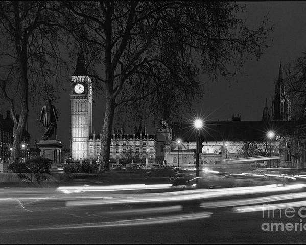 Westminster Palace Poster featuring the photograph Westminster Night Traffic by Aldo Cervato
