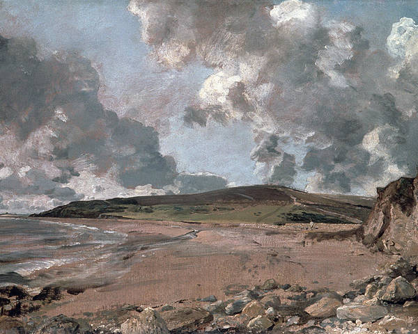 Furzy Cliff; Sand; Clouds; Cloud; Landscape; Rocky; Desolate; Barren; Romantic; Romanticism; Darkened; Storm; Stormy Poster featuring the painting Weymouth Bay With Jordan Hill by John Constable