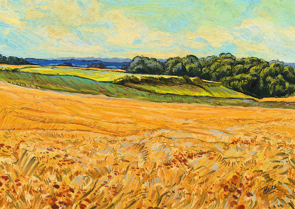 Wheat Field Graanveld Limburg Landscape Oil Painting Briex Poster featuring the painting Wheat Field In Limburg by Nop Briex