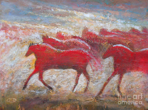 Horses Poster featuring the painting When Horses Were Red by Kip Decker